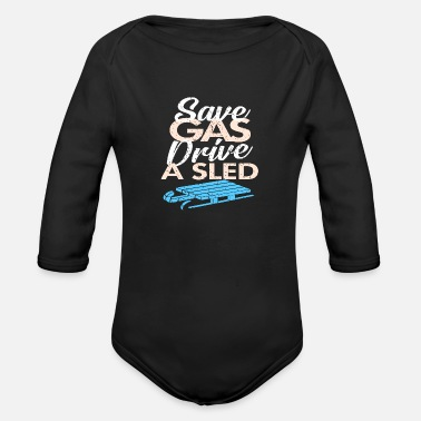 Sled sledding - Organic Long-Sleeved Baby Bodysuit