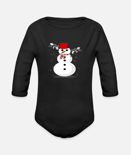 South Pole Baby One Pieces - Snowman - Organic Long-Sleeved Baby Bodysuit black