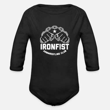 Armwrestling Ironfist armwrestling gym - Organic Long-Sleeved Baby Bodysuit