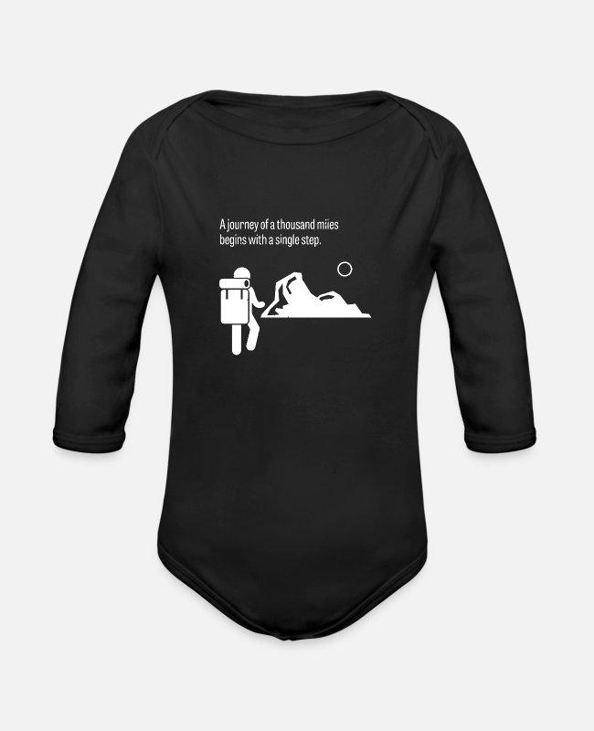 Miles Baby One Pieces - A Journey To A Thousand Miles Begins With A Single - Organic Long-Sleeved Baby Bodysuit black