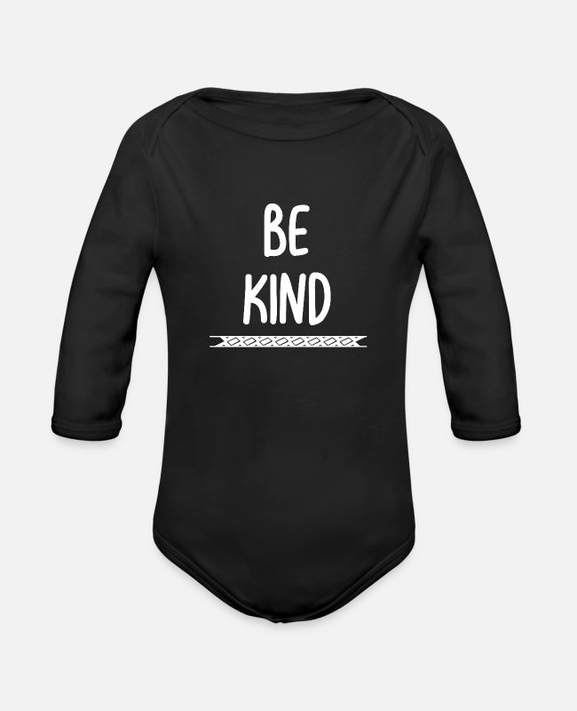 Saying Baby One Pieces - Be kind - Organic Long-Sleeved Baby Bodysuit black