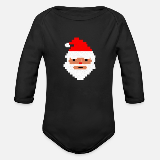 Game Baby Clothing - 8 Bit Santa Claus Merry Christmas Funny Gift Idea - Organic Long-Sleeved Baby Bodysuit black