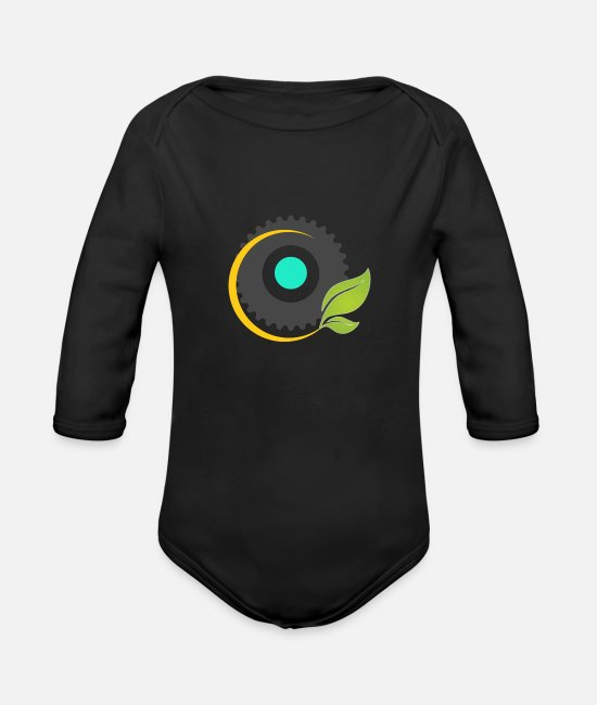 Man Baby One Pieces - New design t shirt - Organic Long-Sleeved Baby Bodysuit black
