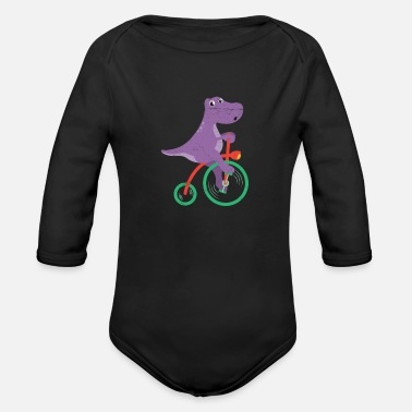 Brother Dinosaur Dino Riding Bicycle Dino Lover - Organic Long-Sleeved Baby Bodysuit