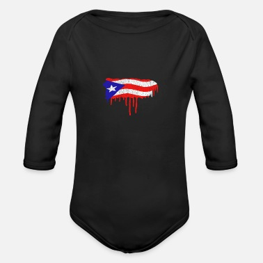 Puerto Rico Paint Drip - Organic Long-Sleeved Baby Bodysuit