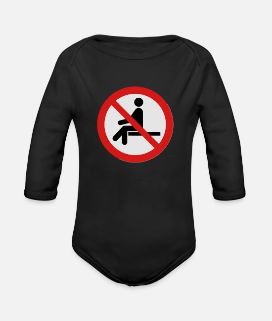 Passed Baby One Pieces - No Sitting Here - Organic Long-Sleeved Baby Bodysuit black