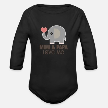 Mimi Mimi and Papa Love Me Grandkid Gift - Organic Long-Sleeved Baby Bodysuit