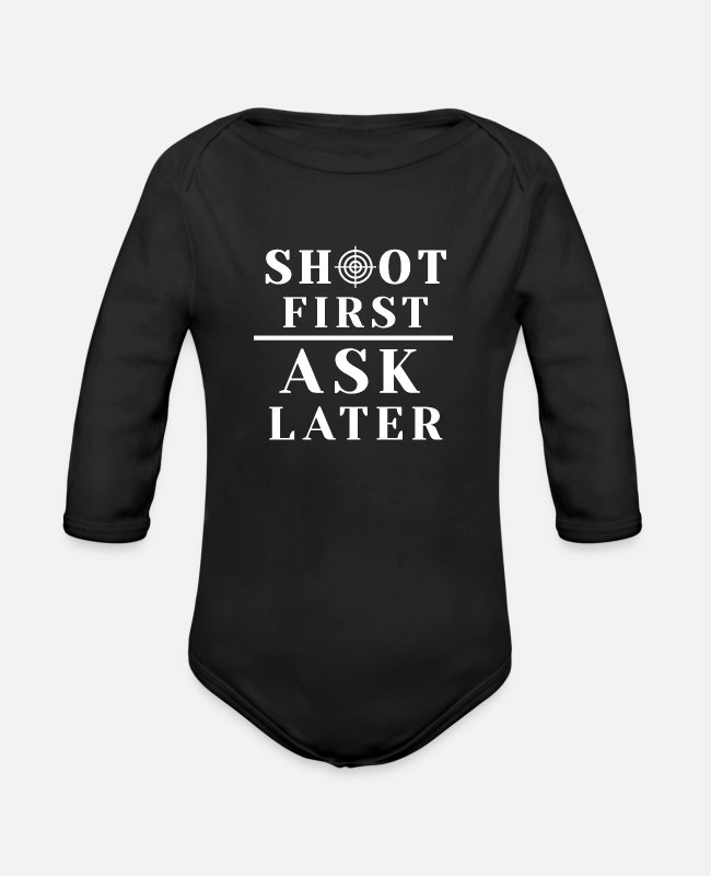 Raider Baby One Pieces - Funny saying paintball sport shooting gift - Organic Long-Sleeved Baby Bodysuit black
