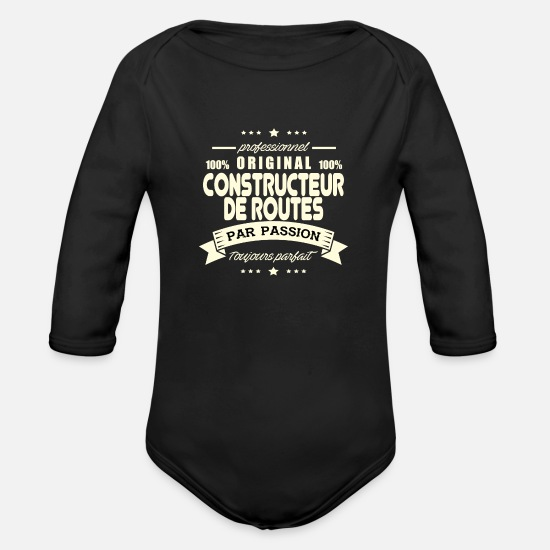 Builder Baby Clothing - Original Road Builder - Organic Long-Sleeved Baby Bodysuit black
