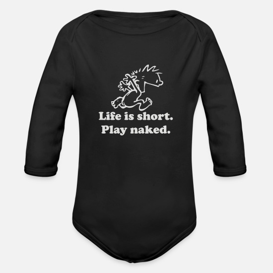 Game Baby Clothing - Life Is Short - Organic Long-Sleeved Baby Bodysuit black