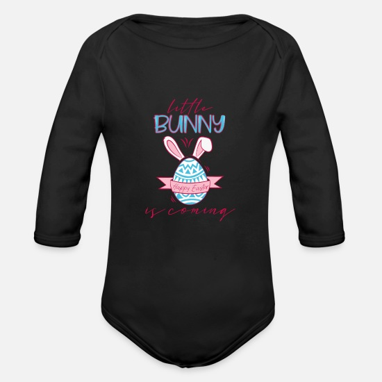 Pregnancy Baby Clothing - Baby Easter Pregnant Rabbit Ears Egg Gift - Organic Long-Sleeved Baby Bodysuit black