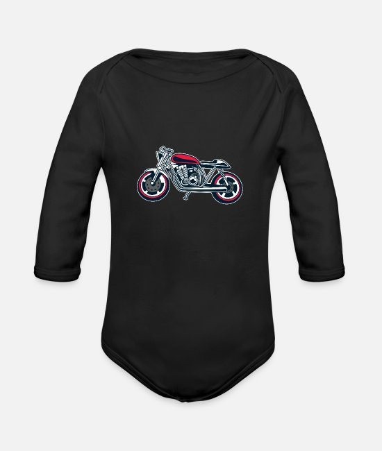 Wheel Baby One Pieces - Motorcycle - Organic Long-Sleeved Baby Bodysuit black