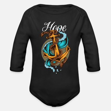 Anchor Vintage Sailor Tattoo - Organic Long Sleeve Baby Bodysuit