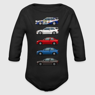 Stack of Ford Escort MkVs Coupes - Organic Long Sleeve Baby Bodysuit