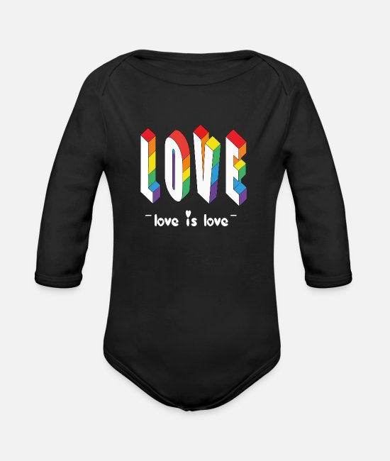 Gay Pride Baby One Pieces - Love is Love - Organic Long-Sleeved Baby Bodysuit black