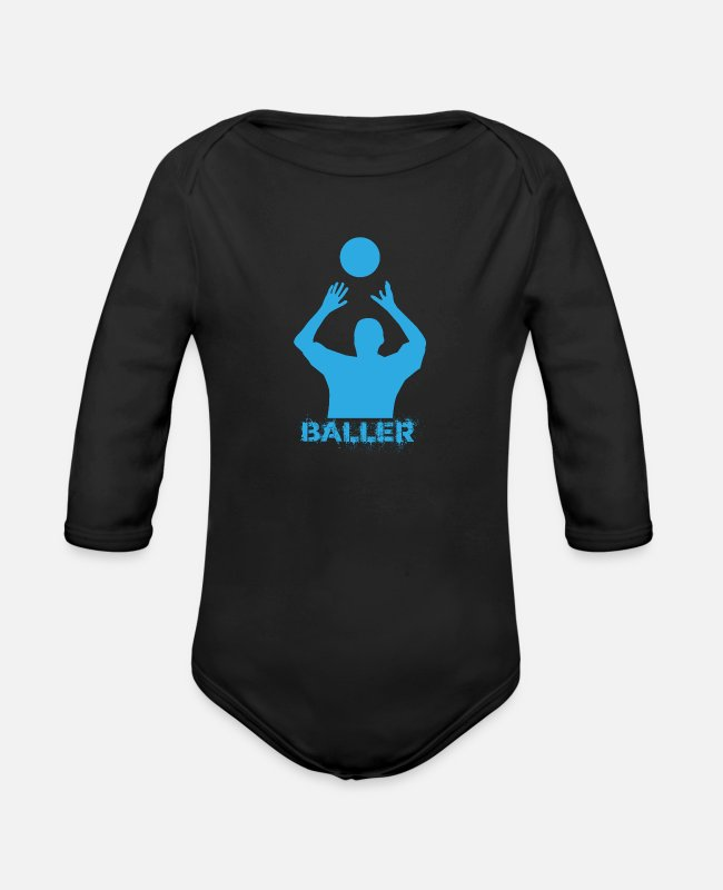 Ball Baby One Pieces - Basketball Ball Game Team Player Gift - Organic Long-Sleeved Baby Bodysuit black