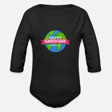 Saving Happy Earth Day - Earth Day April 22 - Organic Long-Sleeved Baby Bodysuit