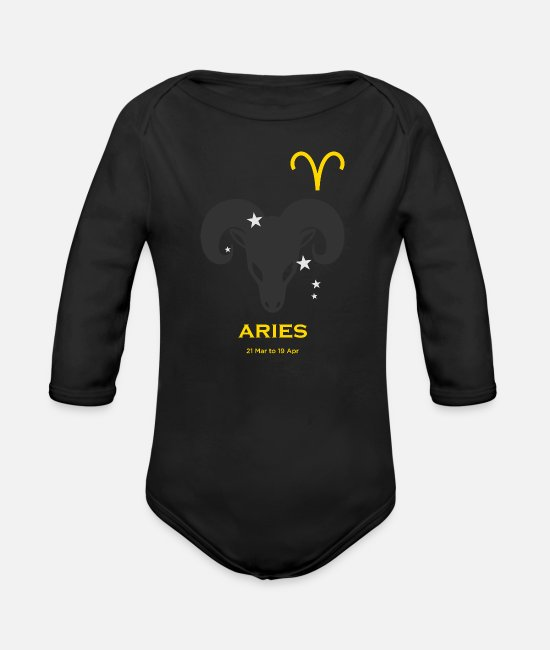 Starry Sky Baby One Pieces - Aries zodiac astrology horoscope - Organic Long-Sleeved Baby Bodysuit black