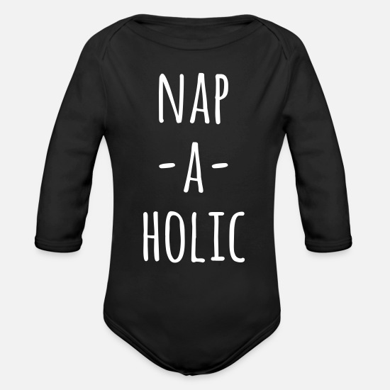 Quotes Baby Clothing - Nap-A-Holic Funny Quote - Organic Long-Sleeved Baby Bodysuit black