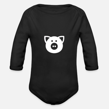Squealer pig piggy squeel oink ham bacon piglet - Organic Long-Sleeved Baby Bodysuit
