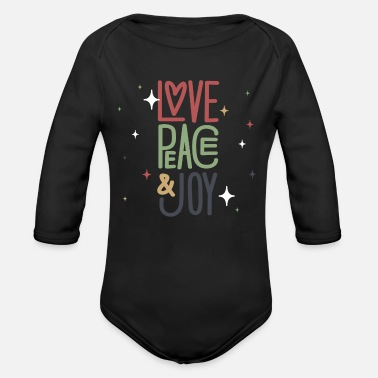 Joy Love, Peace & Joy - Organic Long-Sleeved Baby Bodysuit