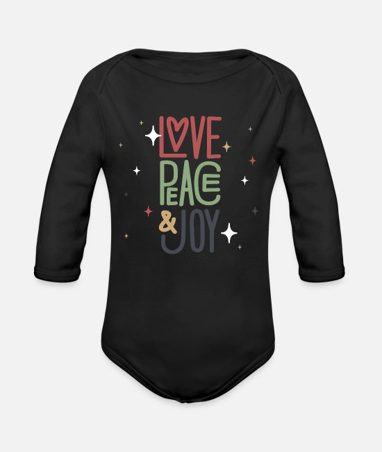 Elves Baby One Pieces - Love, Peace & Joy - Organic Long-Sleeved Baby Bodysuit black