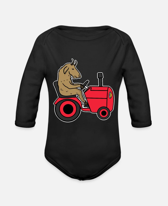 V8 Baby One Pieces - Tractor Cool Trecker Farmer Shirt Gift Farmer - Organic Long-Sleeved Baby Bodysuit black