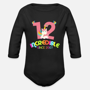 Birthday 12th Birthday Celebration Gift Incredible Since - Organic Long-Sleeved Baby Bodysuit