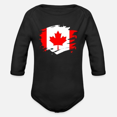Military Canada Paint Splatter Flag Canadian Pride Design - Organic Long-Sleeved Baby Bodysuit