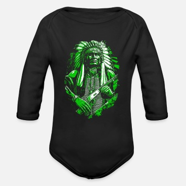 American Indian Indian American Native American Skull Gift - Organic Long-Sleeved Baby Bodysuit