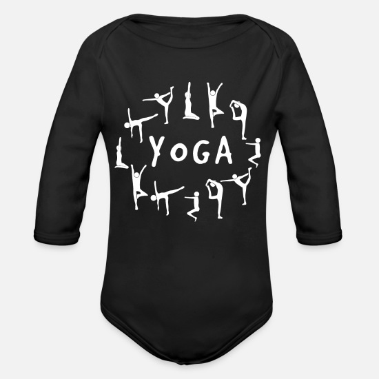 Fitness Baby Clothing - Yoga exercises - Organic Long-Sleeved Baby Bodysuit black
