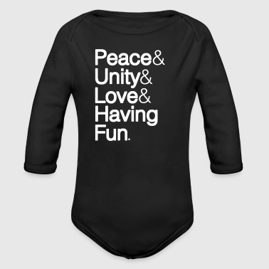 Peace Unity Love & Fun - Organic Long Sleeve Baby Bodysuit