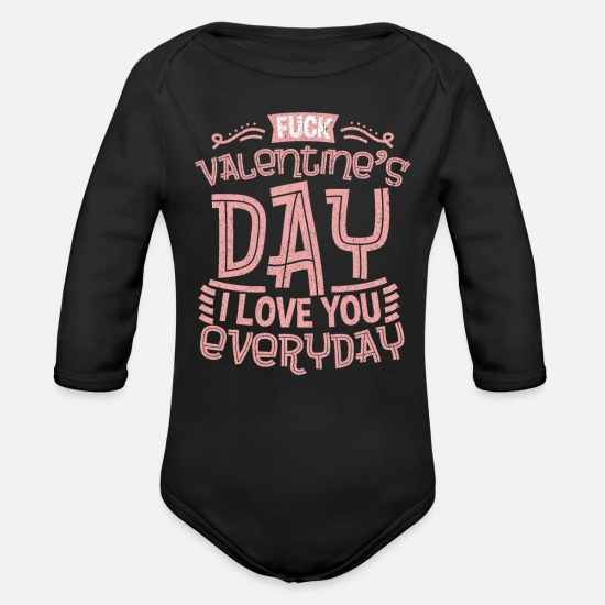 Love Baby Clothing - Valentine's day Love - Organic Long-Sleeved Baby Bodysuit black