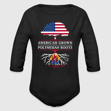 American Grown with French Polynesian Roots French Polynesia Design - Organic Long Sleeve Baby Bodysuit