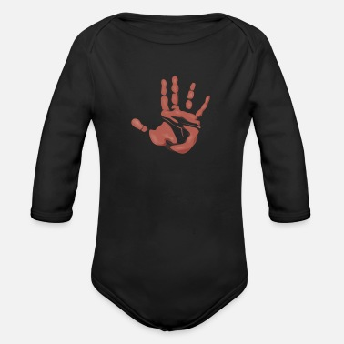 Hand Print - Organic Long-Sleeved Baby Bodysuit