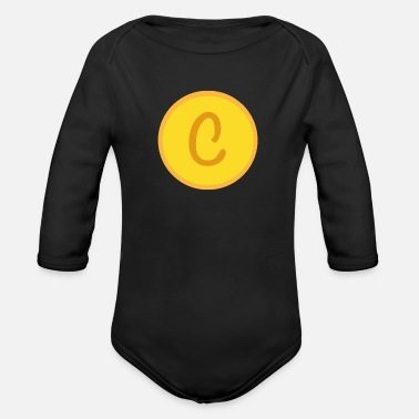 Golden Coin Coin design - Organic Long-Sleeved Baby Bodysuit