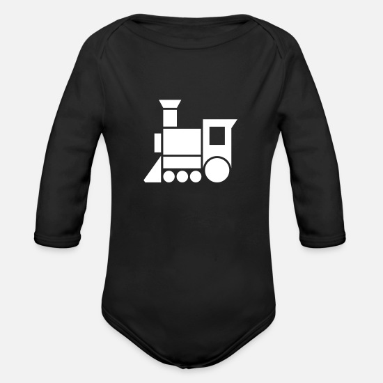 Steam Baby Clothing - Steam Engine - Organic Long-Sleeved Baby Bodysuit black