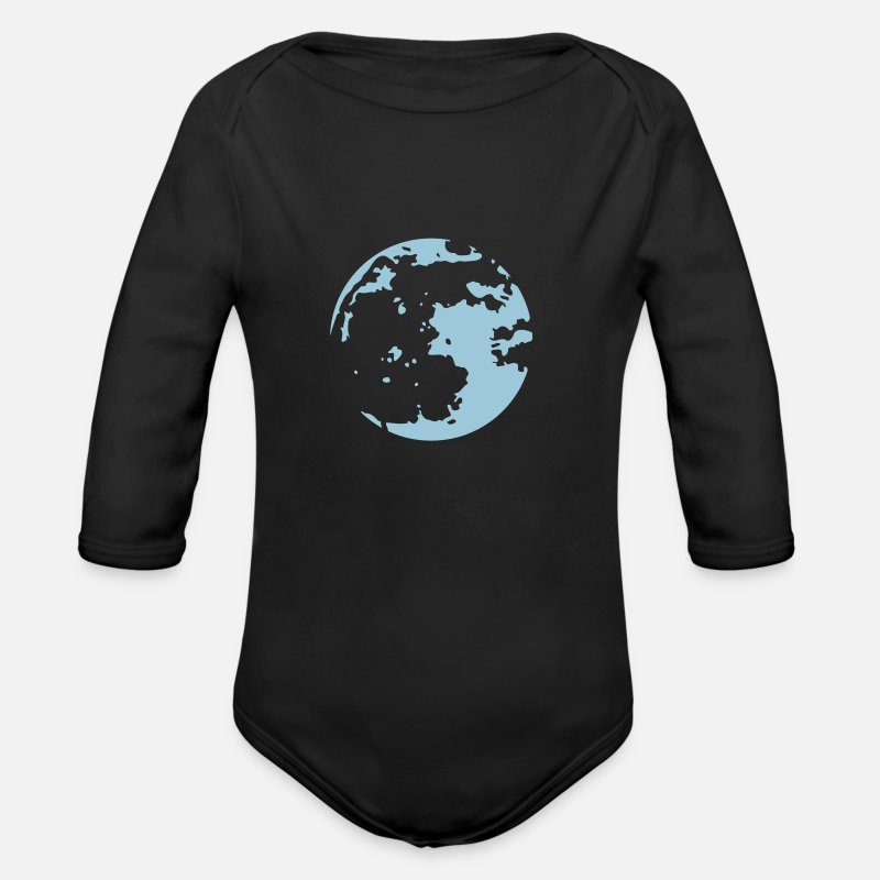 Moon Baby Clothing - Moon Stencil - Long-Sleeved Baby Bodysuit black