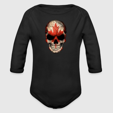 Canadian Flag Skull - Organic Long Sleeve Baby Bodysuit
