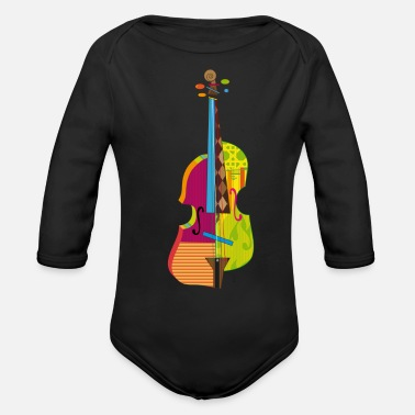 Abstract A colorful violin - Organic Long-Sleeved Baby Bodysuit