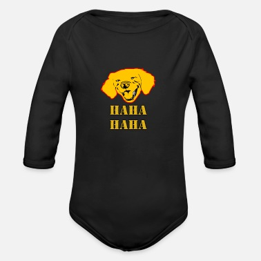 Haha Haha Haha Dog - Organic Long-Sleeved Baby Bodysuit
