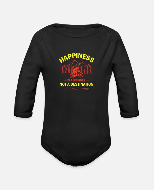 Mountains Baby One Pieces - Happiness Is A Journey Not A Destination yr - Organic Long-Sleeved Baby Bodysuit black