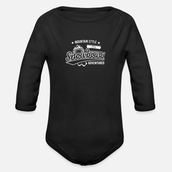 Skies Baby Clothing - Mountain Style Above the Clouds XTREME Snowboard - Organic Long-Sleeved Baby Bodysuit black