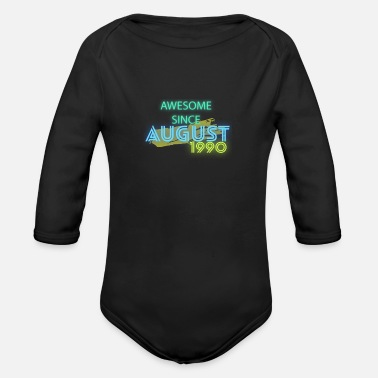 Siter Birthday awesome since august - Organic Long-Sleeved Baby Bodysuit