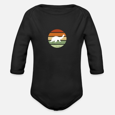 Vintage Retro Dinosaur Sunset - Organic Long-Sleeved Baby Bodysuit