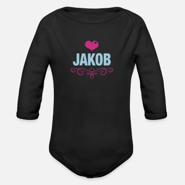 Jakob, Love, Hearts, Baby, Boys, Birthday, Gifts - Organic Long-Sleeved Baby Bodysuit