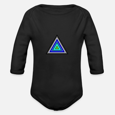 Triangle Triangles in Triangle - Organic Long-Sleeved Baby Bodysuit
