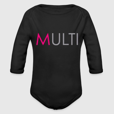 Hot pink 'M' - Organic Long Sleeve Baby Bodysuit
