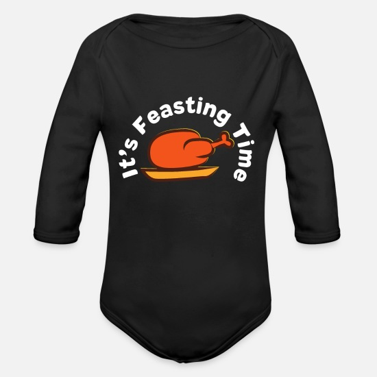 Thankful Baby Clothing - It's Feasting time - Thanksgiving Turkey - Organic Long-Sleeved Baby Bodysuit black