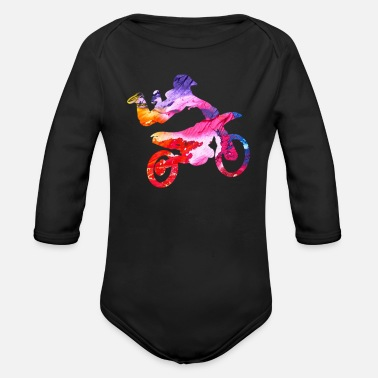 Motor Sport Motocross gift for Biker - Organic Long-Sleeved Baby Bodysuit